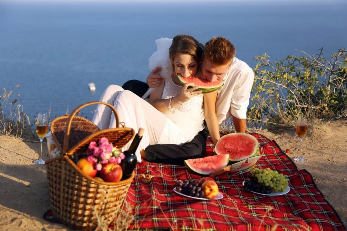 bride and groom having a picnic