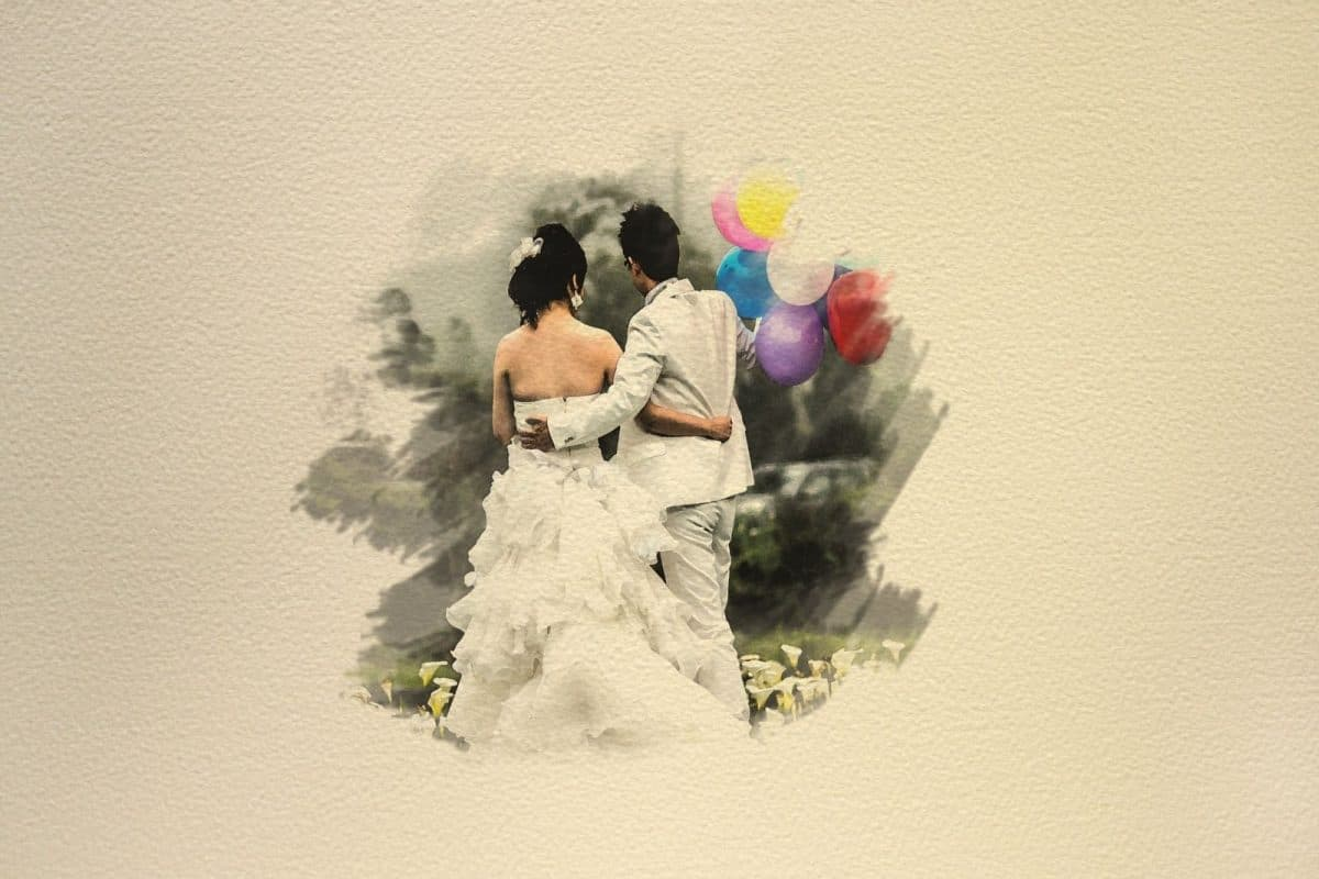 a painting of a bride and groom holding balloons