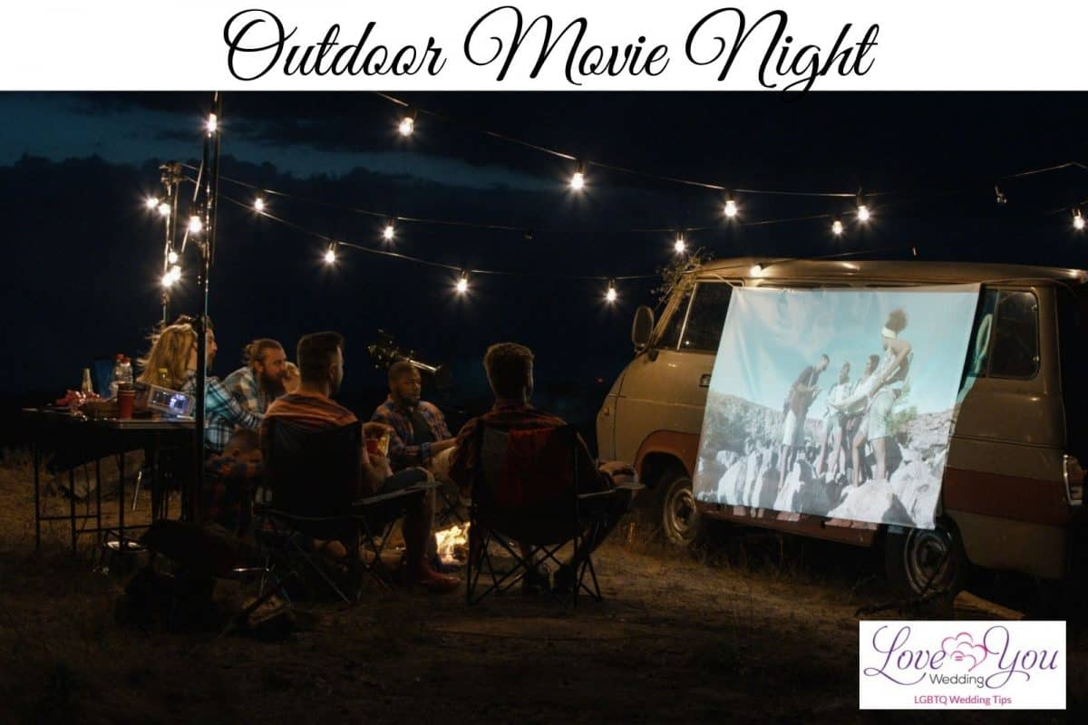 guests having an outdoor movie night after wedding without reception