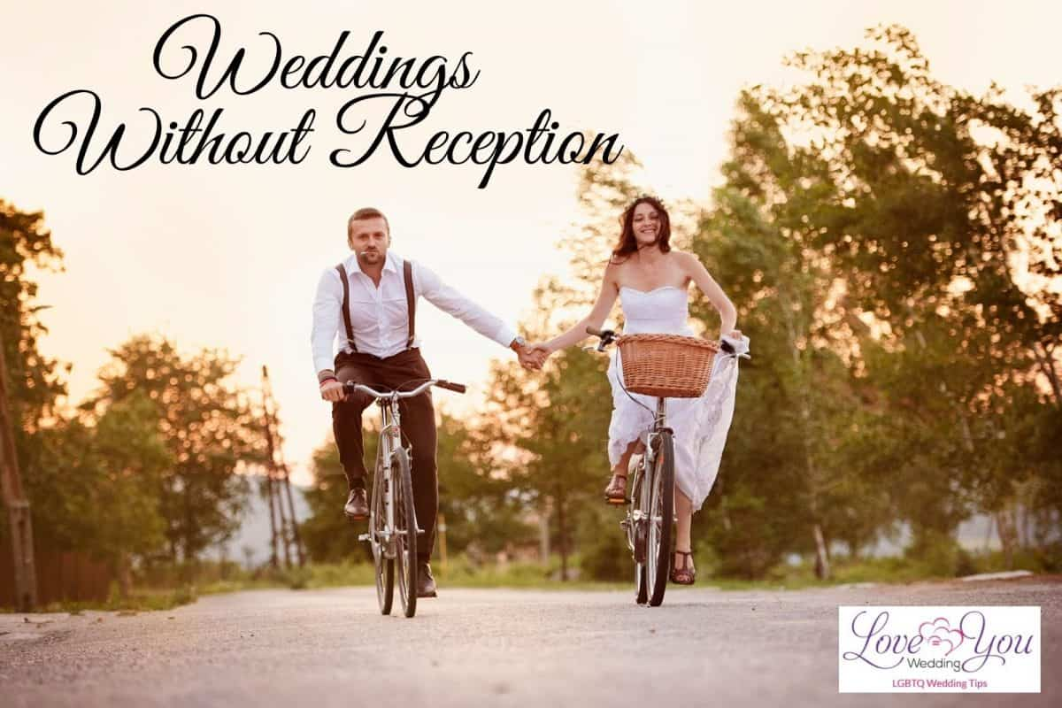 groom and bride riding a bike after weddings without reception