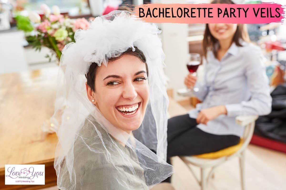 lady wearing Bachelorette Party Veil