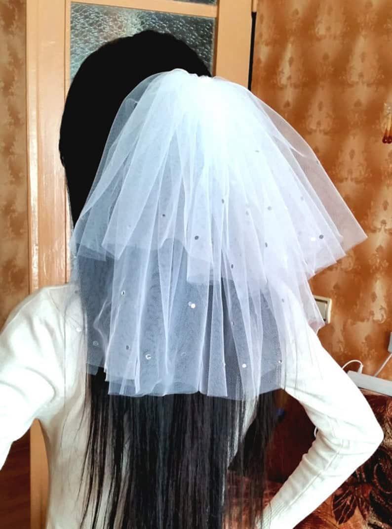 Bachelorette party Veil 2-tier white