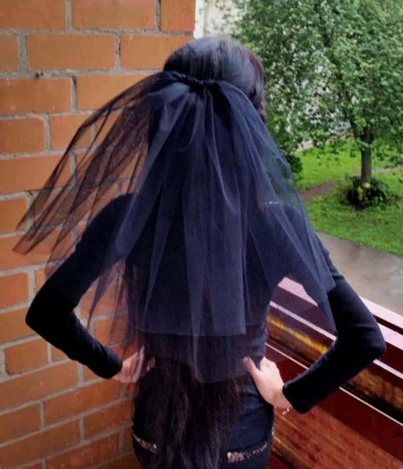 Bachelorette party Veil Black 2-tier middle length