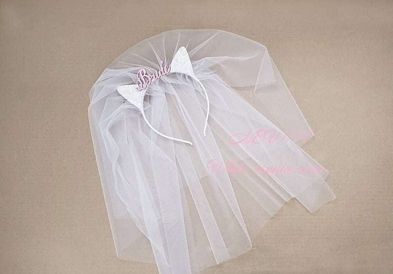 Cat ears with veil Bride To Be Headband Bride party