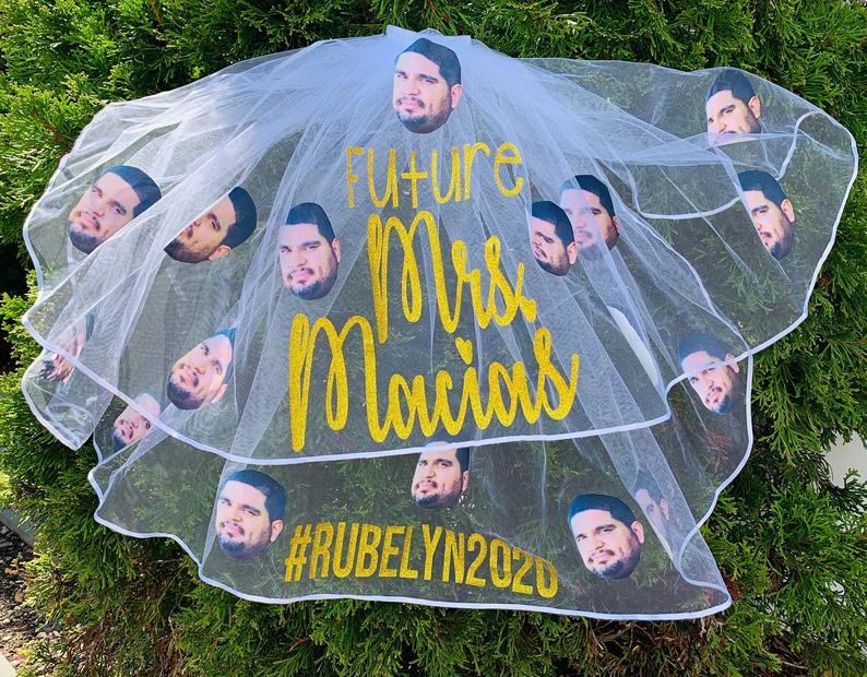 Bachelorette Bridal Party Veil with Grooms Face