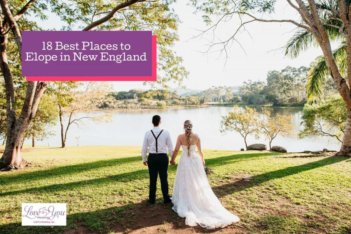 couple eloping in front of a lake, one of the best places to elope in New England