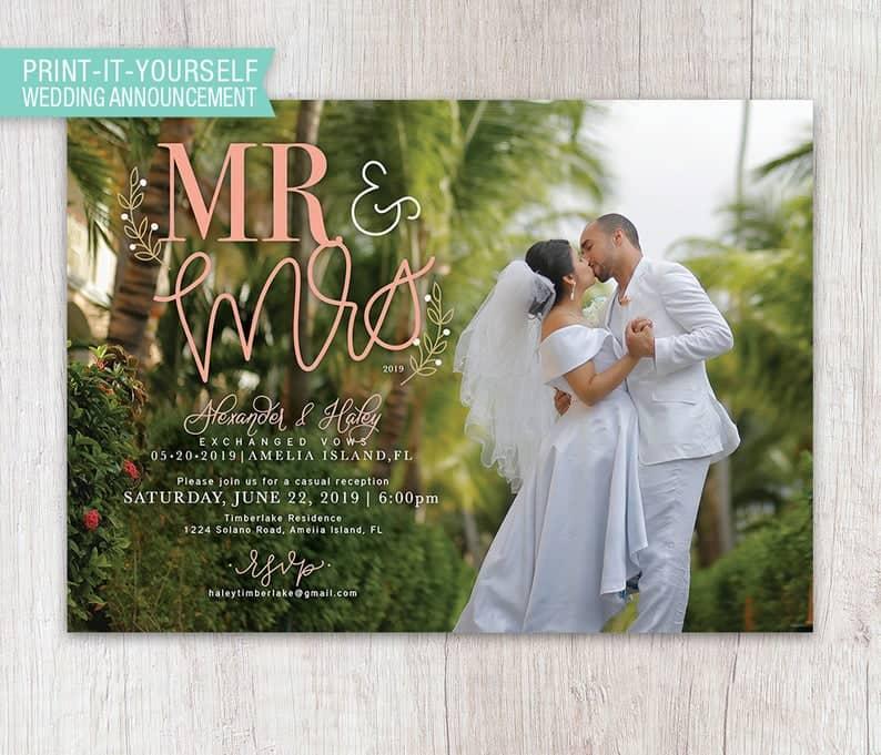 Mr & Mrs Elopement Announcement Wedding Announcement Hand | Etsy
