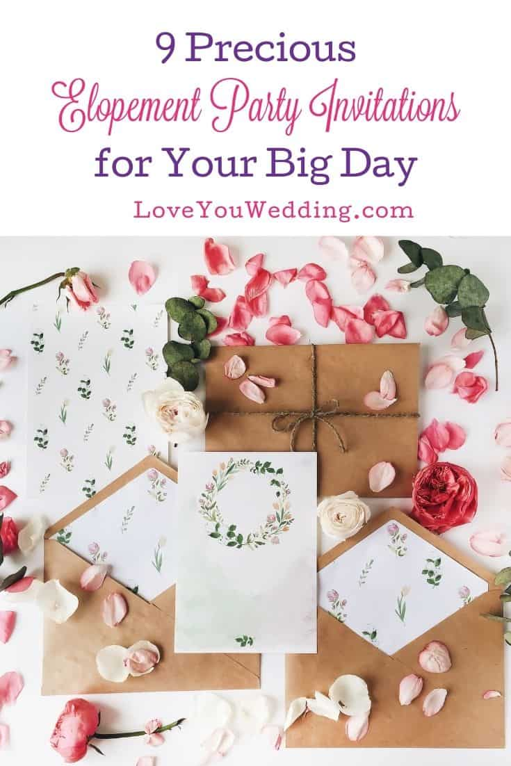 brown envelopes, white papers, and rose petals for elopement party invitations