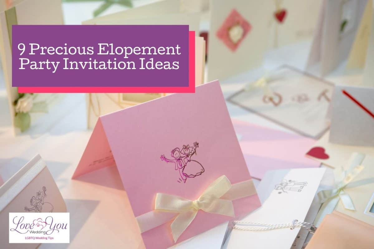 pink and white Elopement Party Invitations