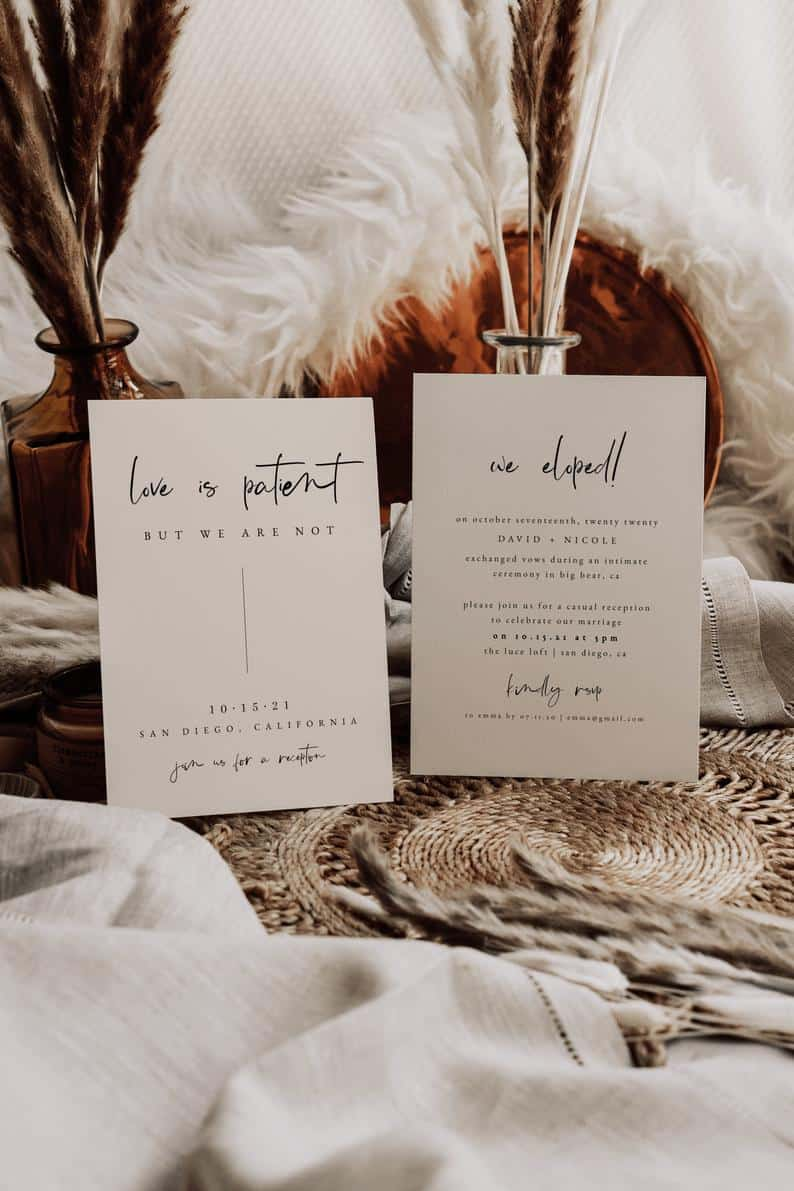 Love is Patient But We Are Not — Elopement Announcement — Printable Wedding Reception Invitation — We Eloped Card — COVID Wedding Invite
