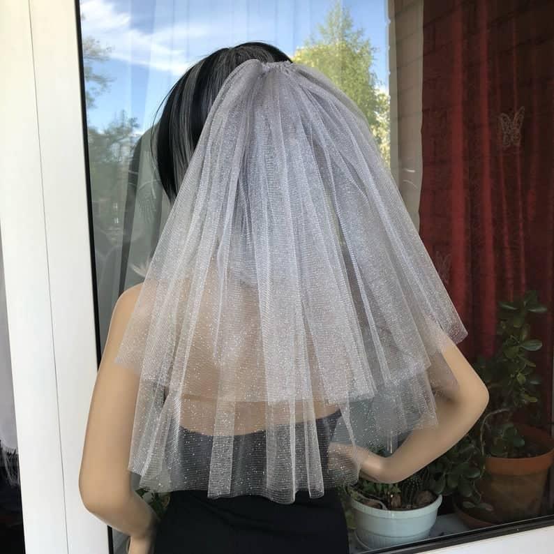 Silver Sparkling Bachelorette party Veil 2-tier