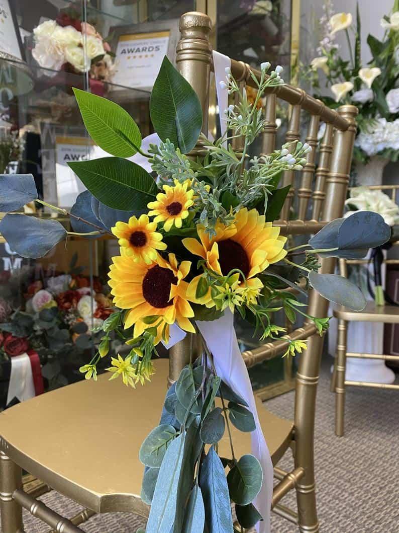 Sunflower eucalyptus Artificial Flower Aisle marker