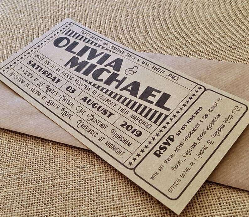 Wedding Invitation sample  Vintage Cinema Movie Theatre | Etsy