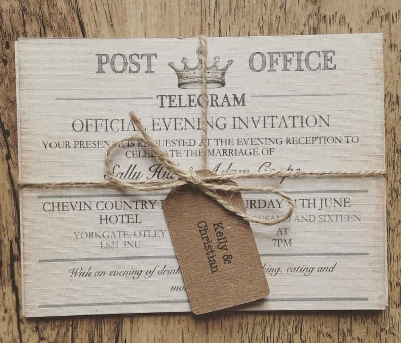 Vintage Travel Wedding Invitation