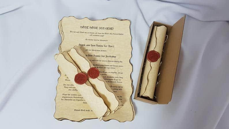 Vintage Wedding Scroll Invitation