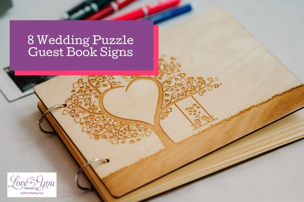 a rusty colored wedding puzzle guest book sign with a tree heart and two love birds