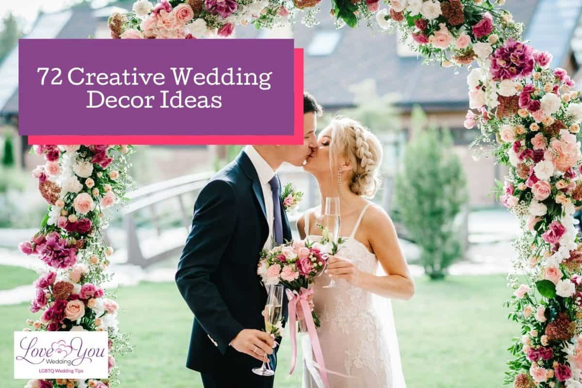bride and groom kissing with a beautiful flower decorations background