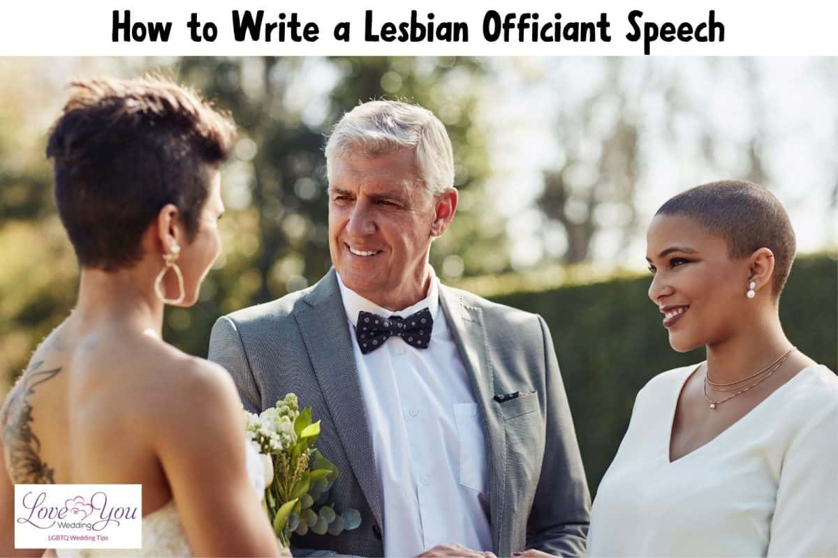 two lesbians getting married with their officiant