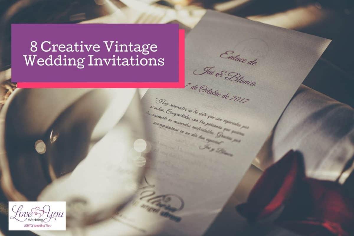 white-themed vintage wedding invitations