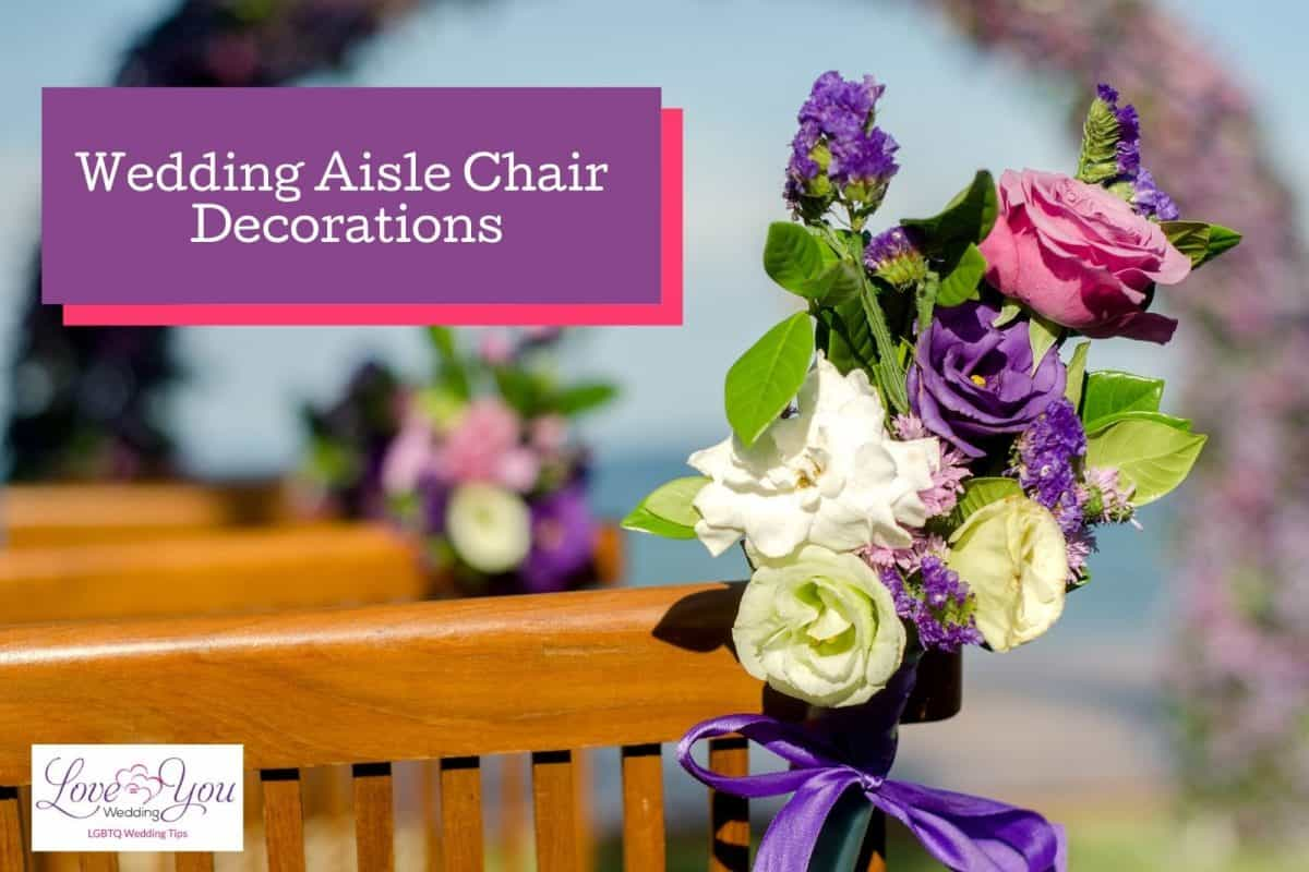 beautiful white, pink and violet flowers for wedding aisle chair decoration