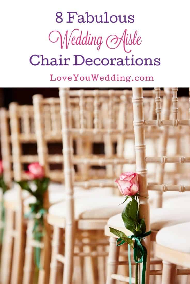 pink roses attached to wedding aisle chairs
