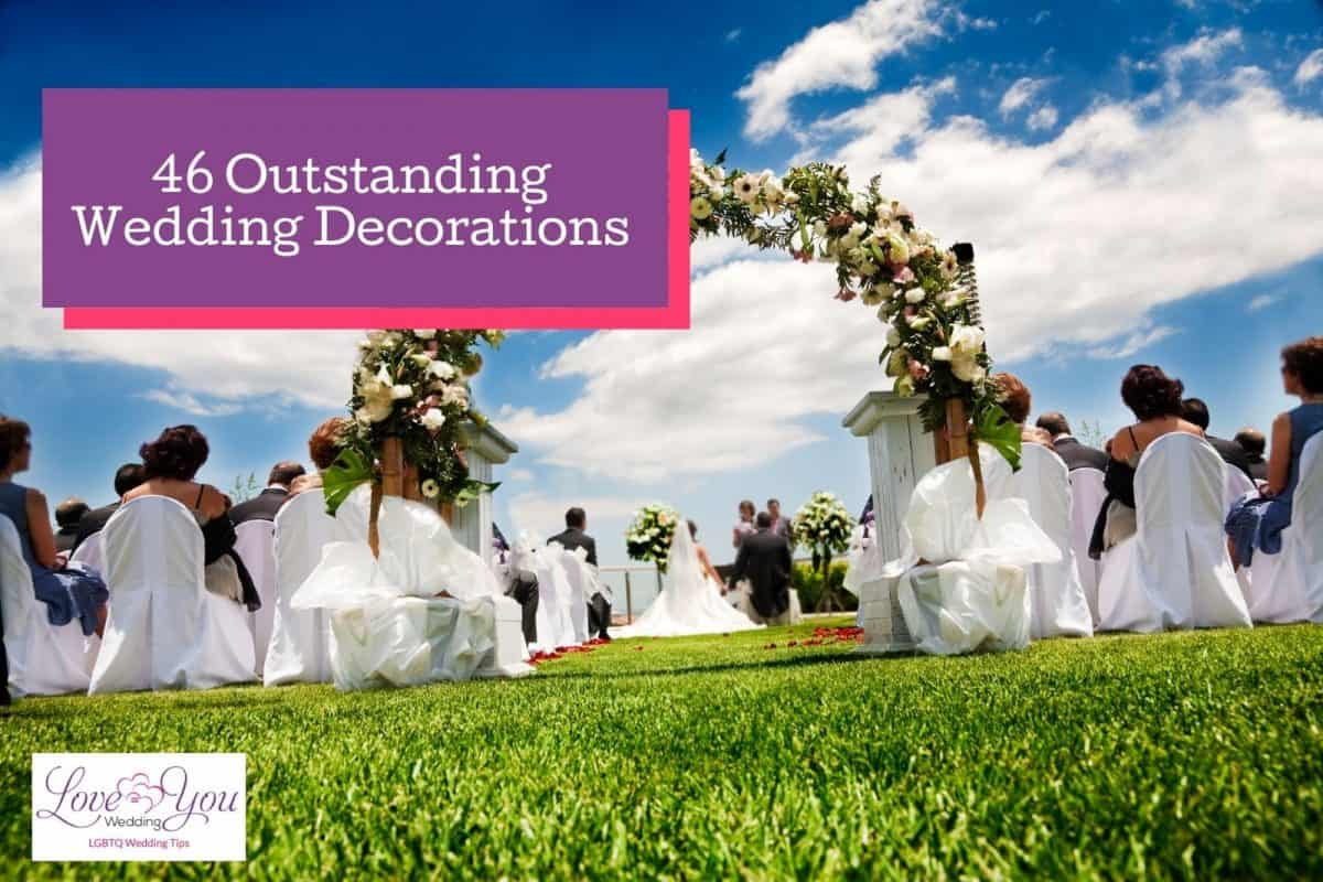 garden wedding with outstanding wedding decorations and view