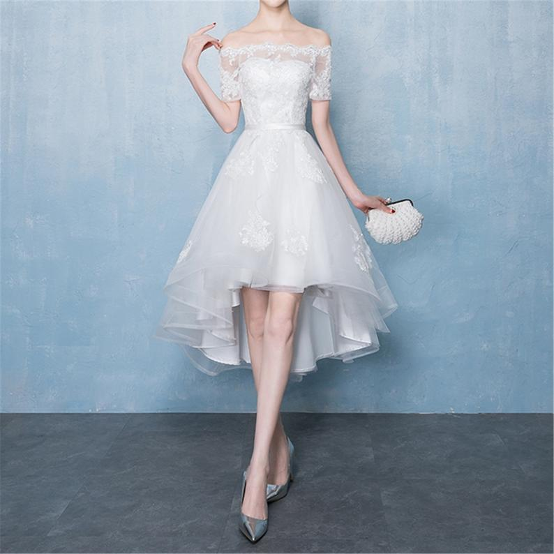 Off Shoulder Asymmetrical Short Wedding Dress