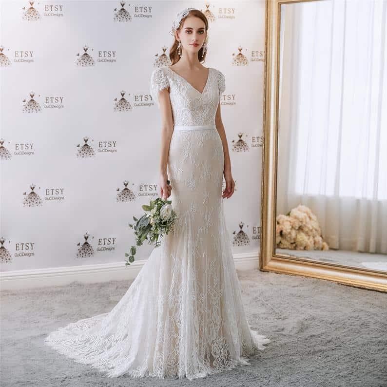 V neck Elegant Wedding Dress Lace Boho Party Gown Long | Etsy