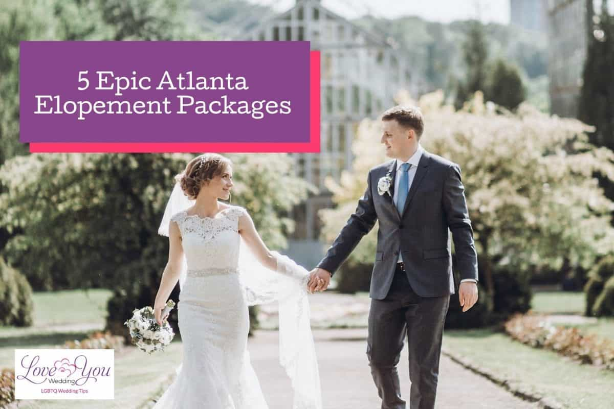 bride and groom just got married with Atlanta elopement packages