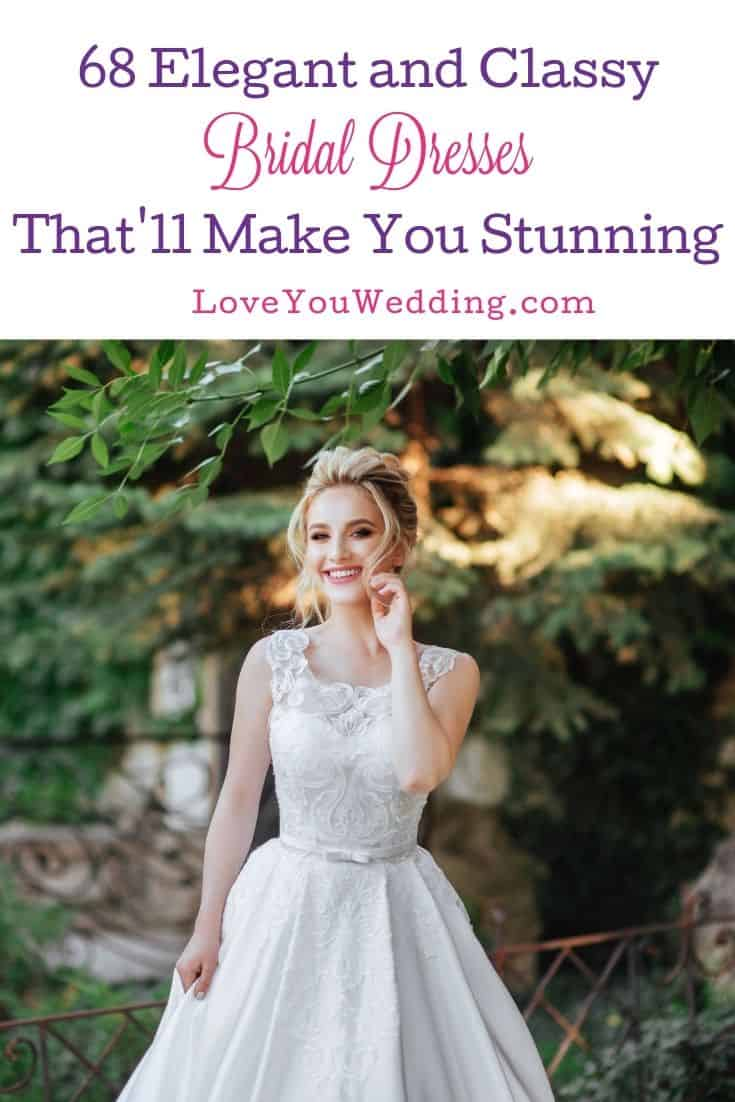 bride with a simple and classy bridal dress with short sleeve