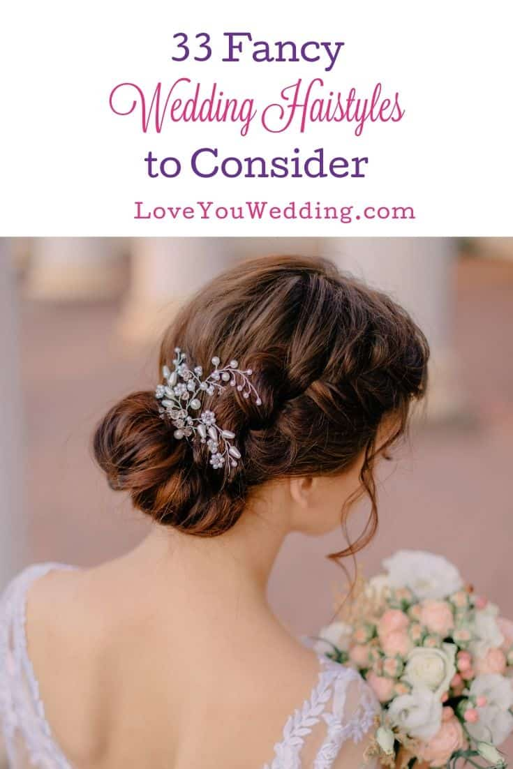 back view of the bride with fancy wedding hairstyle