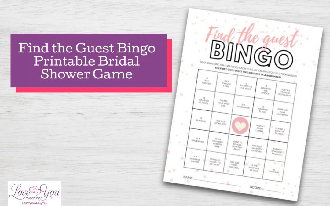 Find the Guest Bingo Printable Bridal Shower Game