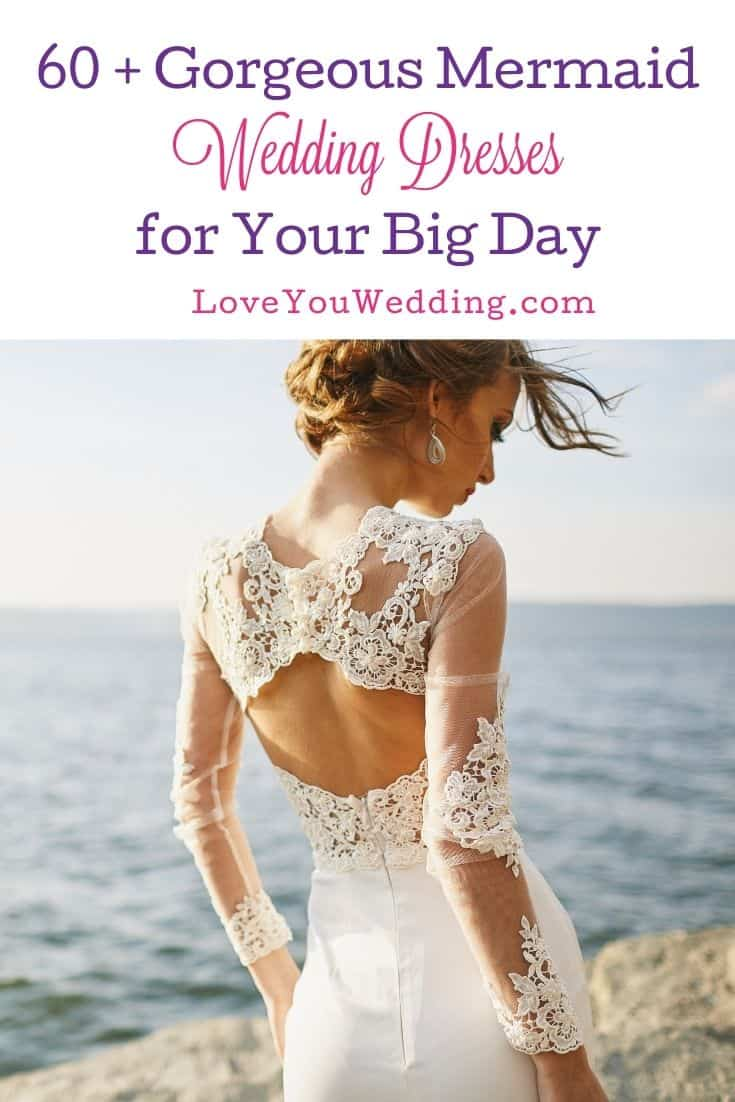 back view of a bride wearing a floral mermaid wedding dress