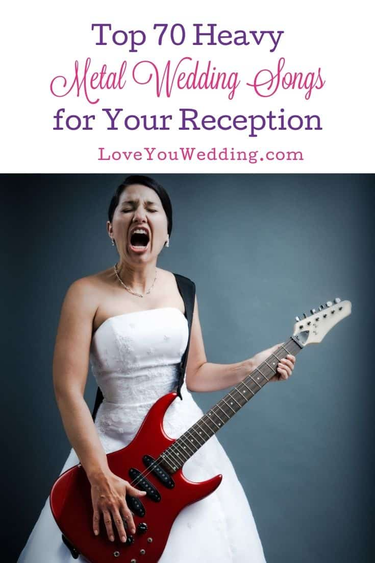 a bride holding a red bass guitar while screaming