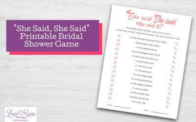 She Said, She Said Bridal Shower Game Printable