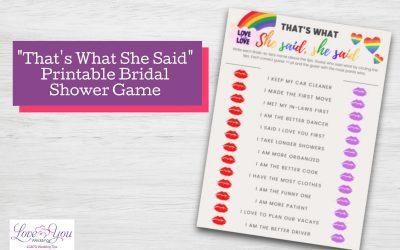 """""""That's What She Said"""" LGBTQ Bridal Shower Game Printable"""