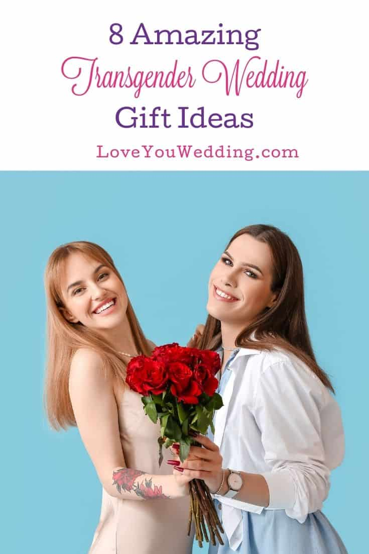 a cute transgender couple holding a bouquet of red roses