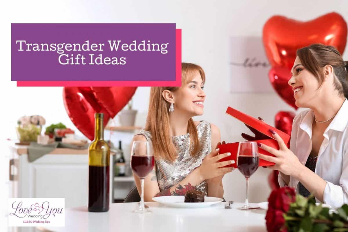 a cute couple having a dinner while giving transgender gifts to each other