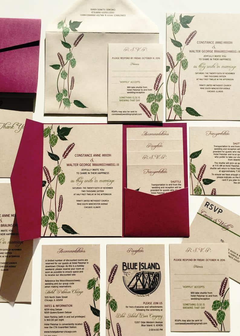 Beer Wedding Invitation