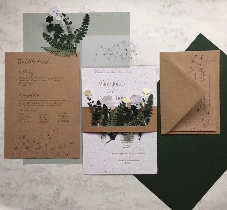 Biodegradable seeded wedding invitation