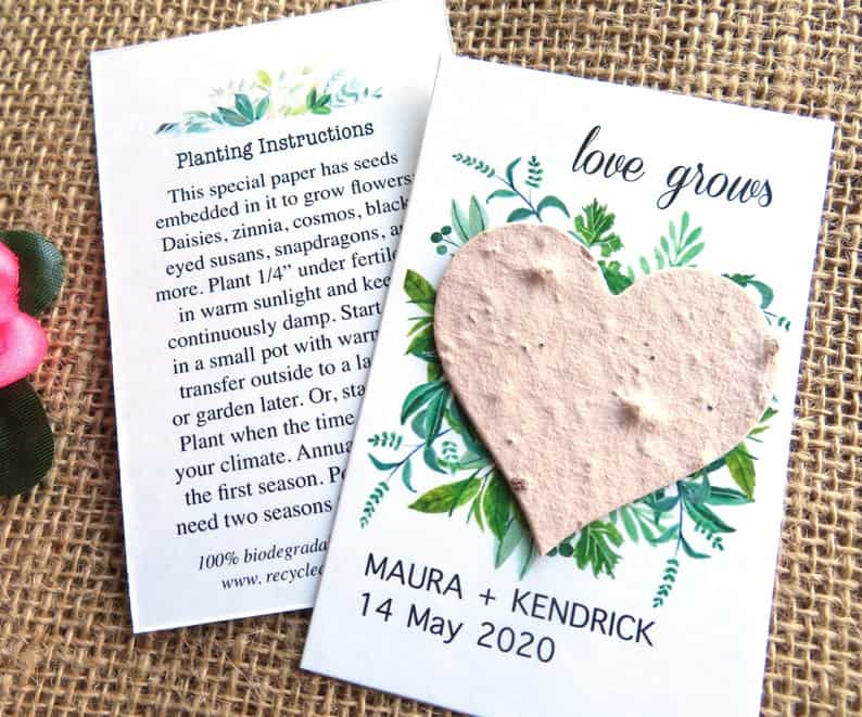 Blush Pink Plantable Seed Paper Heart
