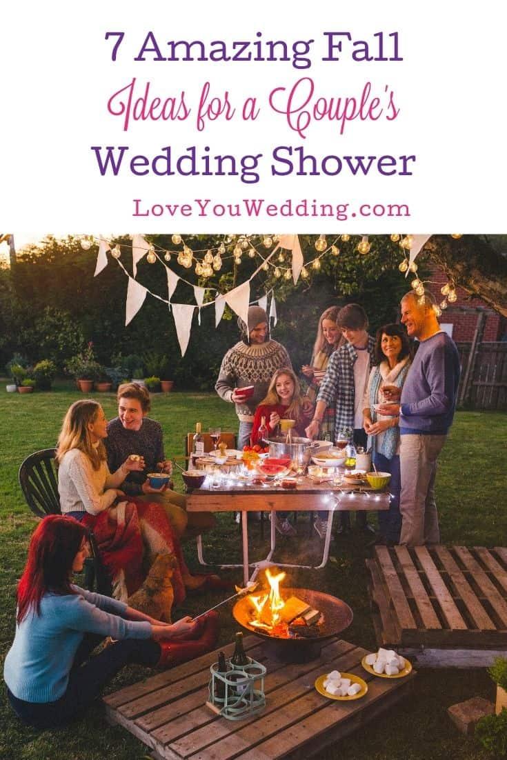 couples wedding shower held with a simple backyard setup