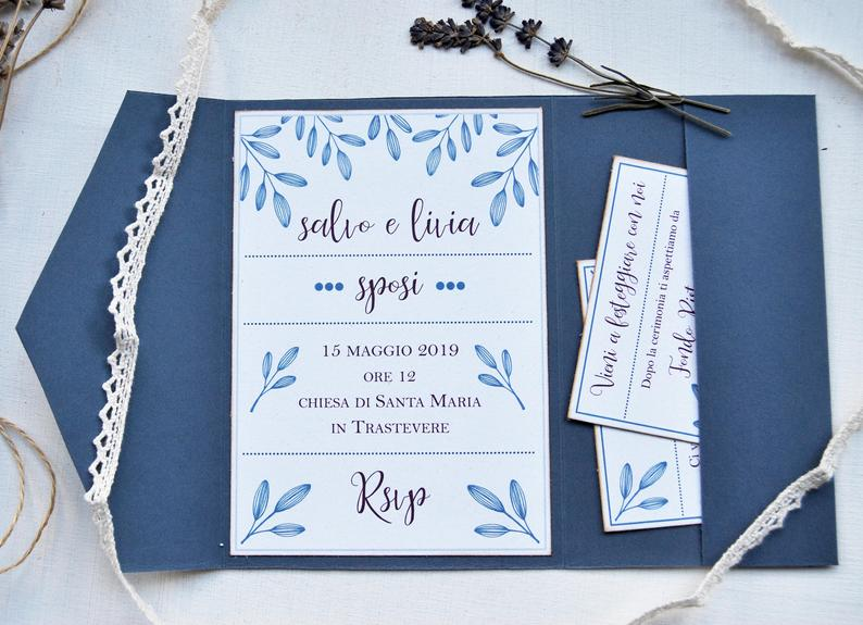 Handmade wedding invitations with recycled paper