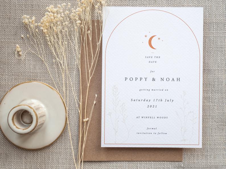 STARRY WOODLAND  Save the Date  Boho Celestial Wedding | Etsy