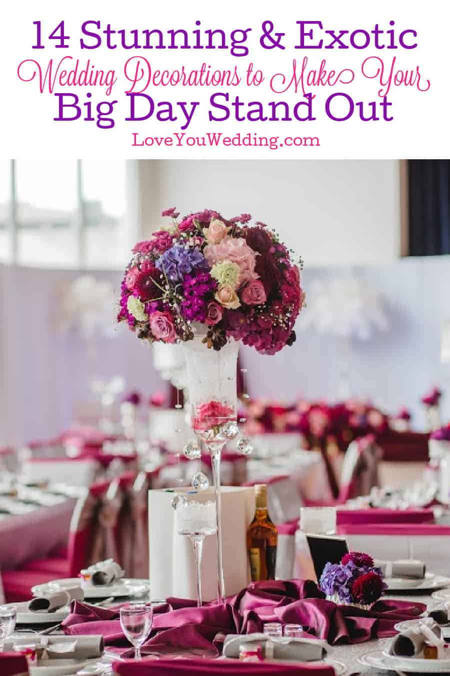 Looking for some exotic wedding decorations to really make your big day stand out? Check out these 14 nifty ideas to incorporate!