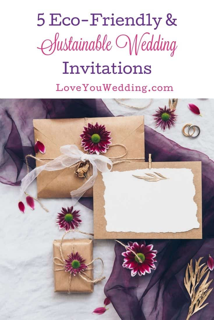 sustainable wedding invitations with flowers and crafty papers