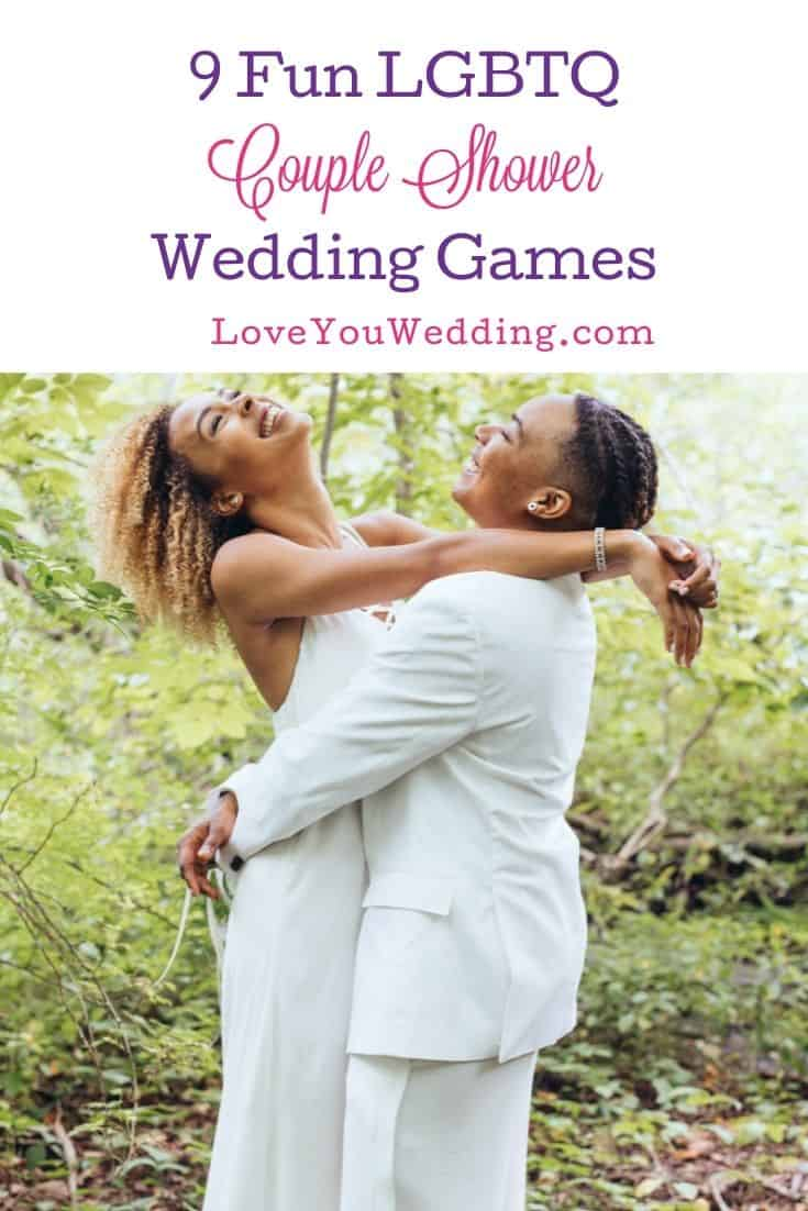 same sex couple happily playing LGBTQ Couple Wedding Shower Games