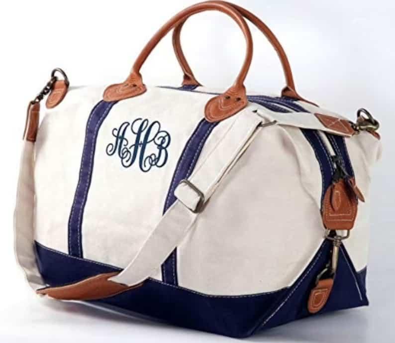 Monogrammed Weekender Bag  Canvas and Genuine Leather Tote Navy