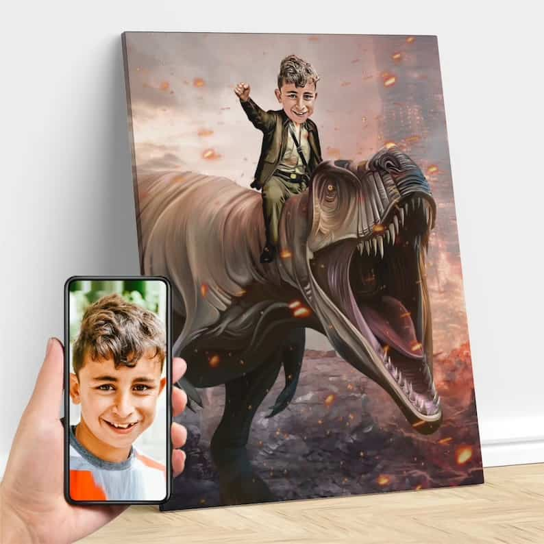 boy riding a trex art