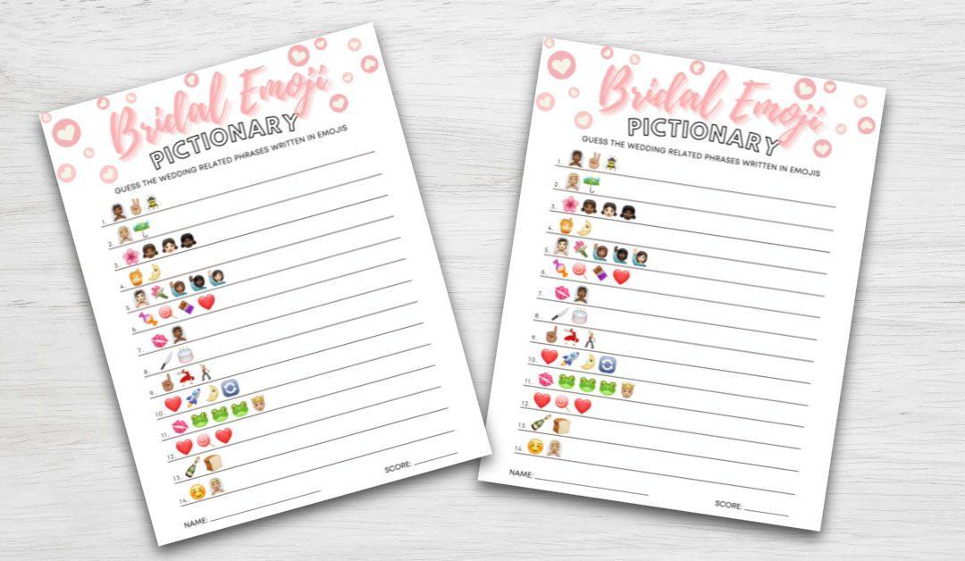 Bridal Emoji Pictionary Printable & Virtual Shower Game